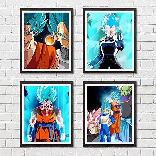 Japanese Manga Anime Dragon Ball Poster Son Goku Saiyan Canvas Prints Super Hero 8 x 10 inches Wall Art Decoration, No Frame (Goku Super Saiyan Poster)
