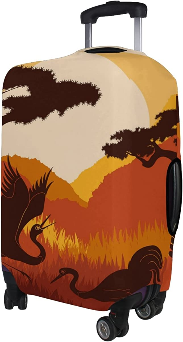 GIOVANIOR Crane Under Sunset Luggage Cover Suitcase Protector Carry On Covers