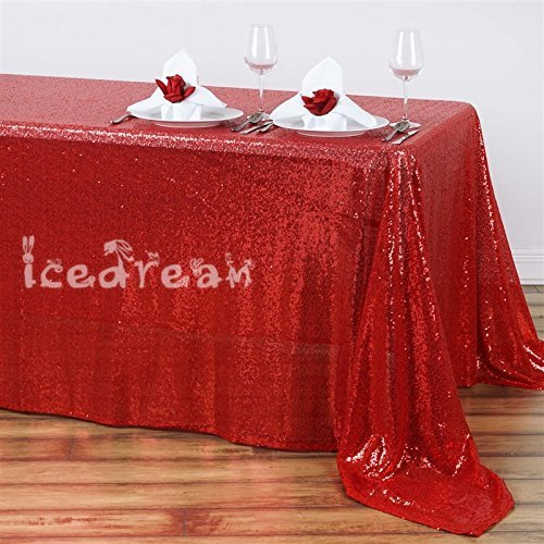 Red Sequin Tablecloth Overlay For Wedding Party Christmas Home Decoration Shimmer Tablecloth (Red Cloth Wedding Table White And)