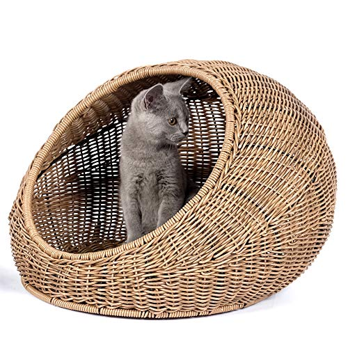 D+ Garden Wicker Cat Bed for Medium Indoor Cats - a Covered Cat Hideaway Hut of Rattan Houses Pets in Dome Basket, Washable ()