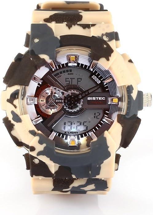 Bistec camuflaje Hombre Sport reloj digital Proyección hora dual moda impermeable reloj de pulsera