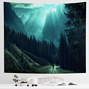 IcosaMro Green Forest Tapestry Wall Hanging for Bedroom [Double-Folded Hems] Valley Mountain Nature Landscape Scenery Wall Blanket for Living Room Dorm, 51x60, Green