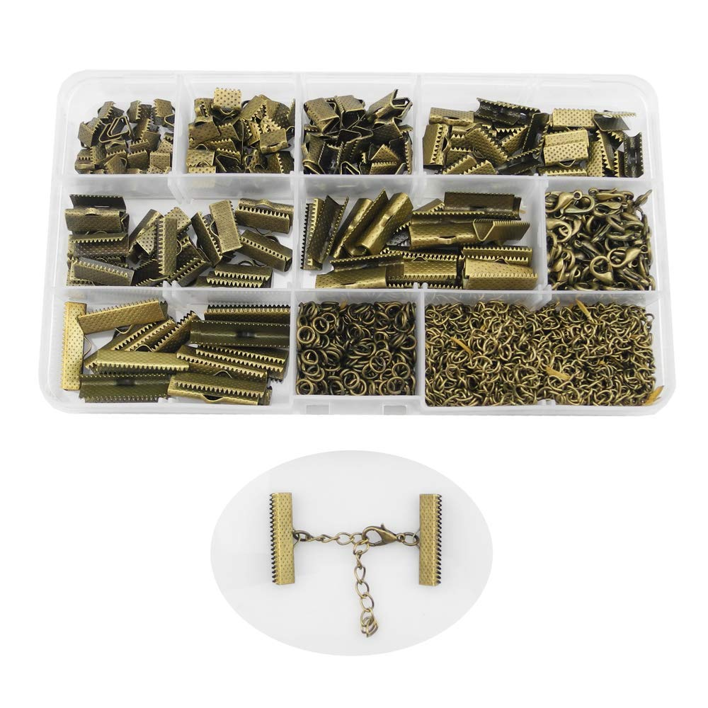 Inspirelle 100 Sets Assorted Size Bronze Plated Ribbon Bracelet Bookmark Leather Pinch Crimps Kit with Lobster Clasps and Chain Extenders