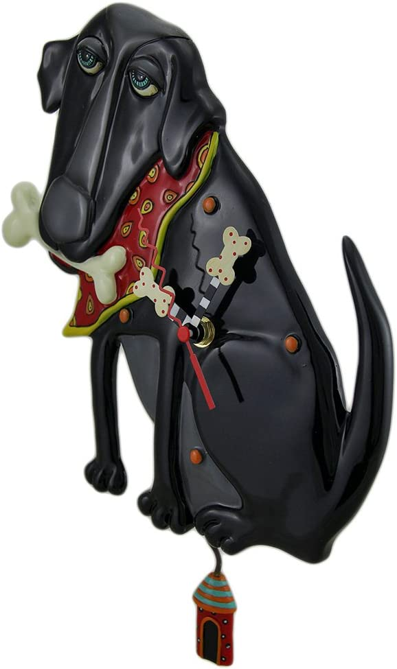 Allen Designs Parker The Dog Black Pendulum Wall Clock 13 in.