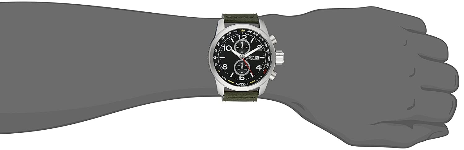 28a987bb9 Amazon.com: Invicta Men's 19409SYB Aviator Stainless Steel Watch with Nylon  Strap: Invicta: Watches