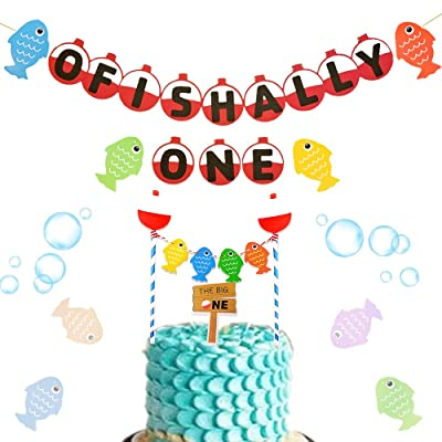 JeVenis Set of 2 Ofishally one banner Gone Fishing Party Decorations The Big One Cake Topper The Big One Party Decoration for Fishing Birthday Decorations Fishing Themed 1st Birthday Decoration: Toys & Games