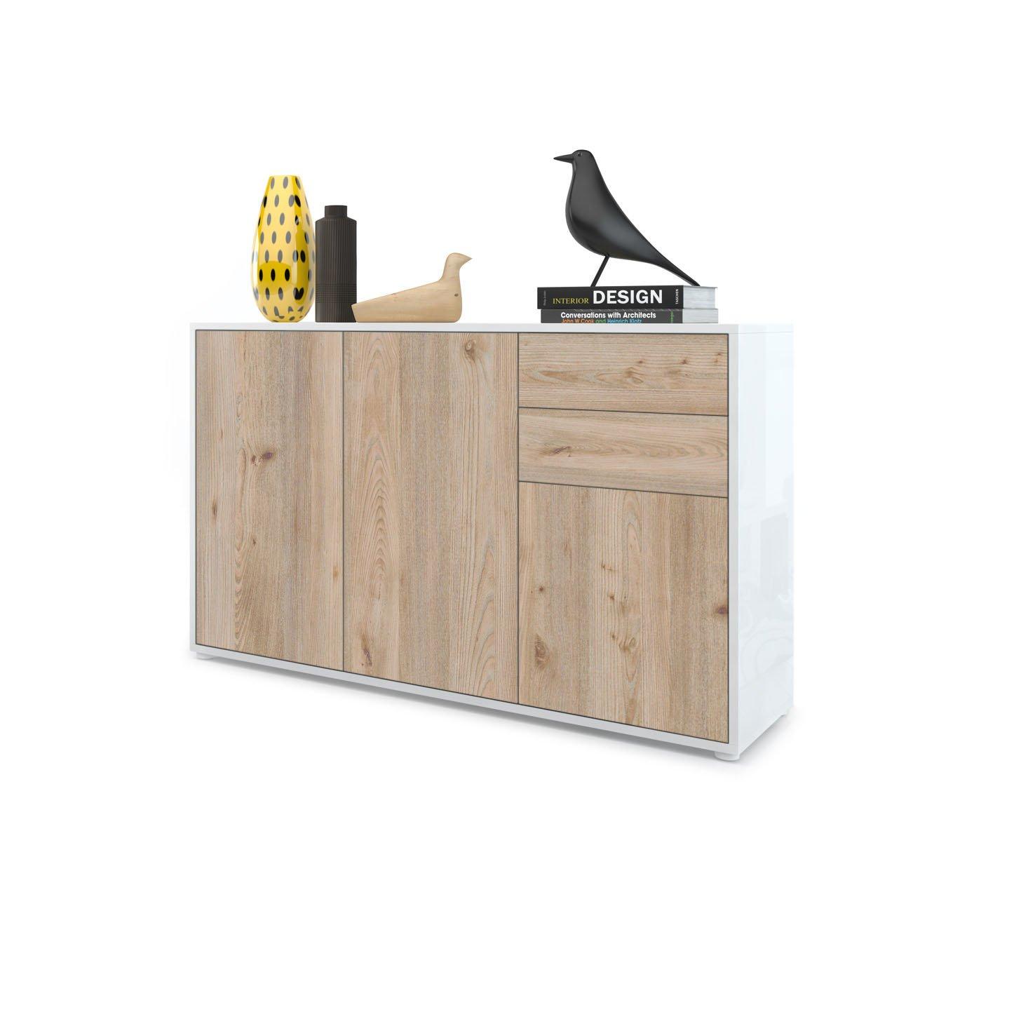 C/ómoda Sideboard Ben V3 Cuerpo en Blanco de Alto Brillo//Frentes con Apariencia de /óxido de hormig/ón