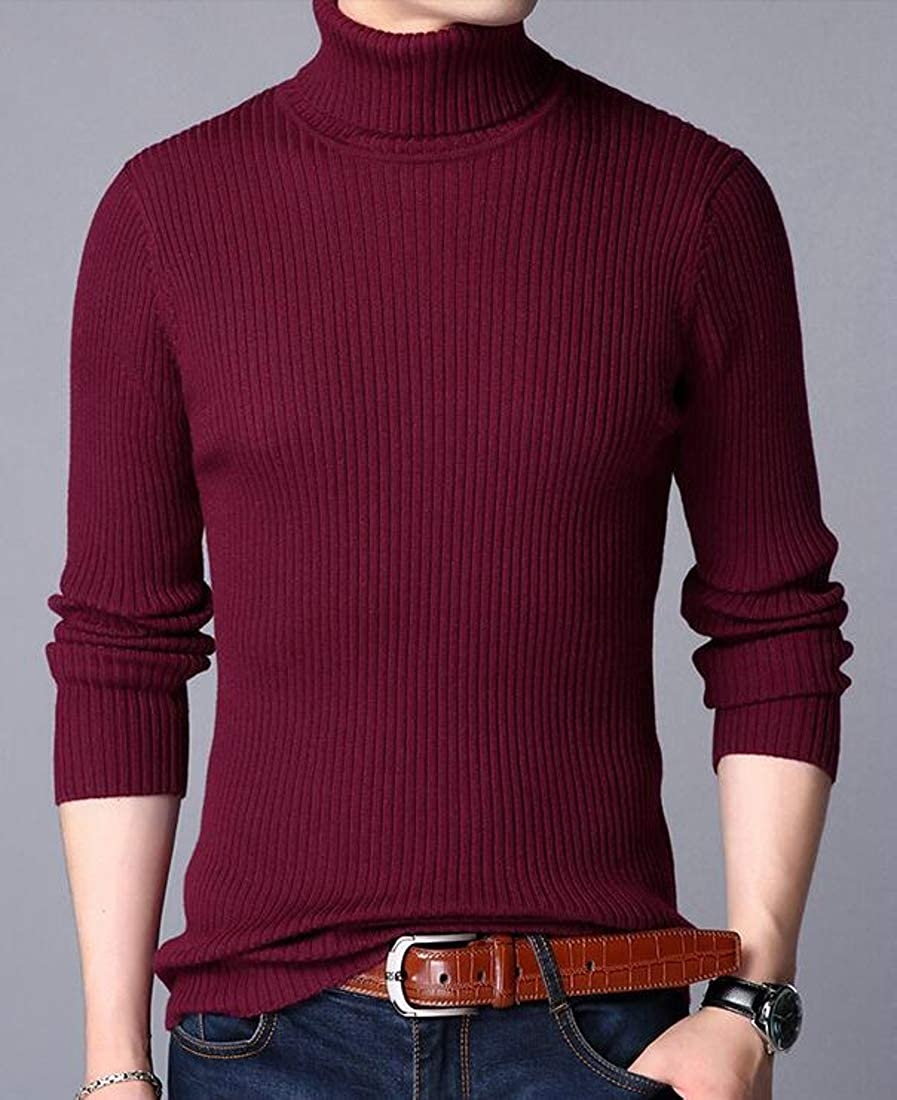 Lutratocro Mens Classic Turtleneck Slim Jumper Pullover Solid Sweaters