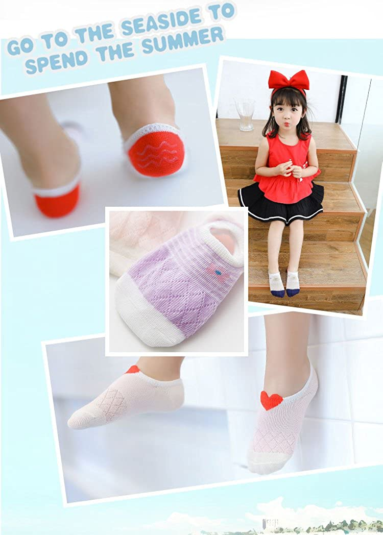Beautifulmall 5 Pairs Summer Toddler No Show Ankle Socks Girls Boys Soft Cotton Thin Mesh Infant Baby Socks