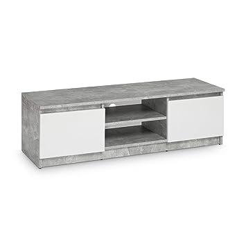 galdem tv lowboard board fernseher schrank fernsehtisch tv mobel unterschrank beton optik weiss