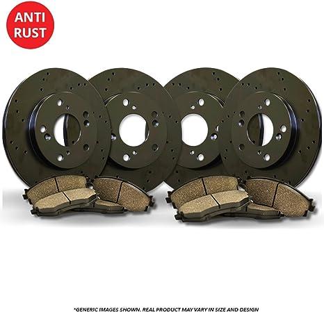 Front+Rear Kit 8 Ceramic Pads High-End 4 Cross-Drilled Disc Brake Rotors Fits:- 5lug