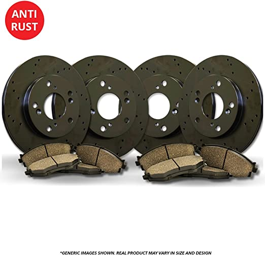 Front+Rear Kit 4 Cross-Drilled Disc Brake Rotors 8 Ceramic Pads Pacifica 5lug High-End