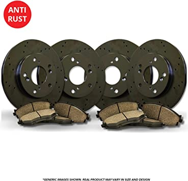 2012 For Jeep Grand Cherokee Rear Anti Rust Coated Disc Brake Rotors and Ceramic Brake Pads Note: Exc HD Brakes