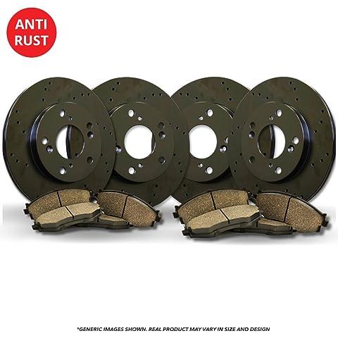 Rear Kit High-End 5lug 2 Silver Coated Cross-Drilled Disc Brake Rotors Fits:- RDX CR-V 4 Ceramic Pads