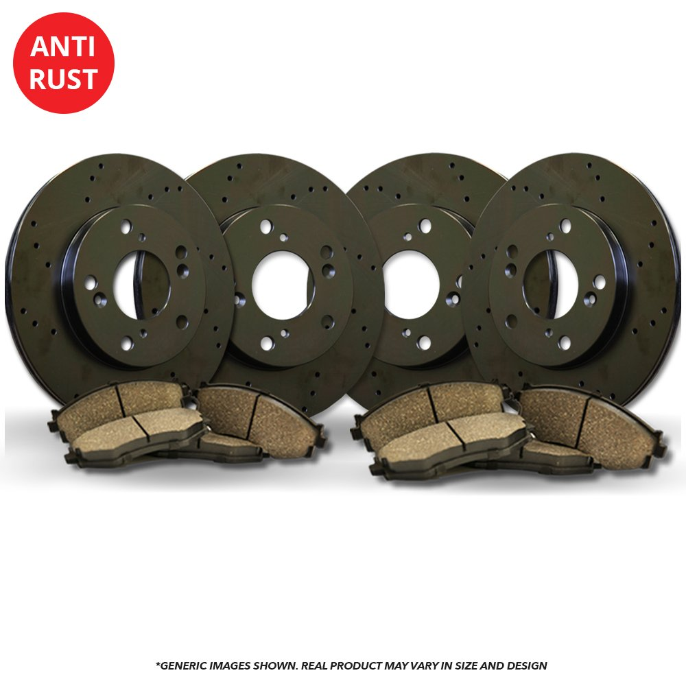 (Front+Rear Kit)(Heavy Tough-Series) 4 Black Coated Cross-Drilled Disc Brake Rotors + 8 Ceramic Pads(GMC Chevrolet)(8lug) frautoparts