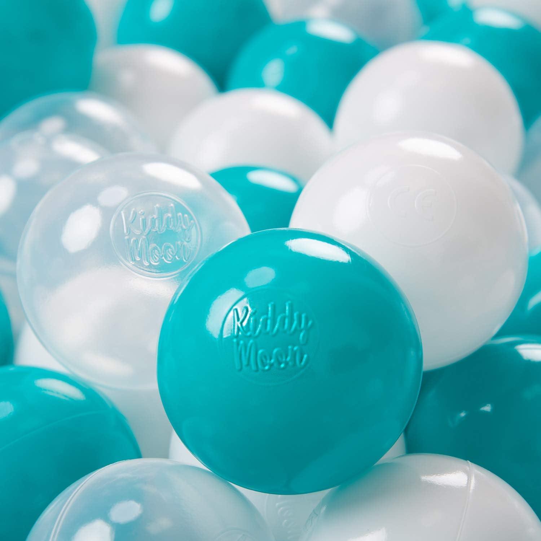 KiddyMoon 100 ∅ 7Cm Bolas Colores De Plástico para Piscina Certificadas para Niños, Turquesa Transparente Blanco