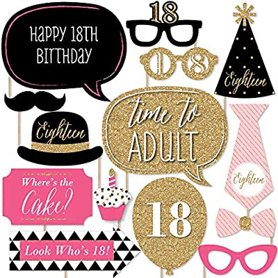 Big Dot Of Happiness Chic 18th Birthday Pink Black And Gold Birthday Party Photo Booth Props Kit 20 Count Amazon Co Uk Toys Games