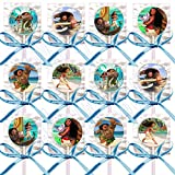 Moana Party Favors Supplies Decorations Disney Movie Lollipops w/ Turquoise Blue Ribbon Bows Party Favors -12 pcs