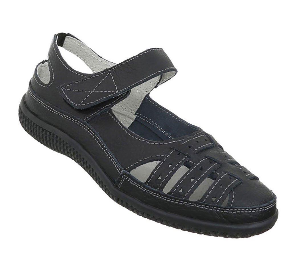 Damen Schuhe Sandalen Leder Klettverschluszlig;41 EU Schwarz
