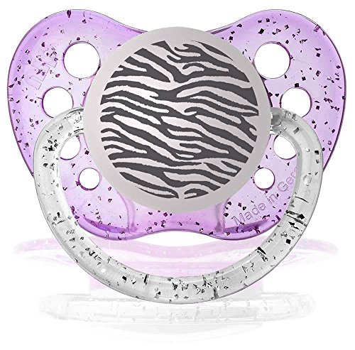 Personalized Pacifiers Zebra Pacifier Glitter, Purple