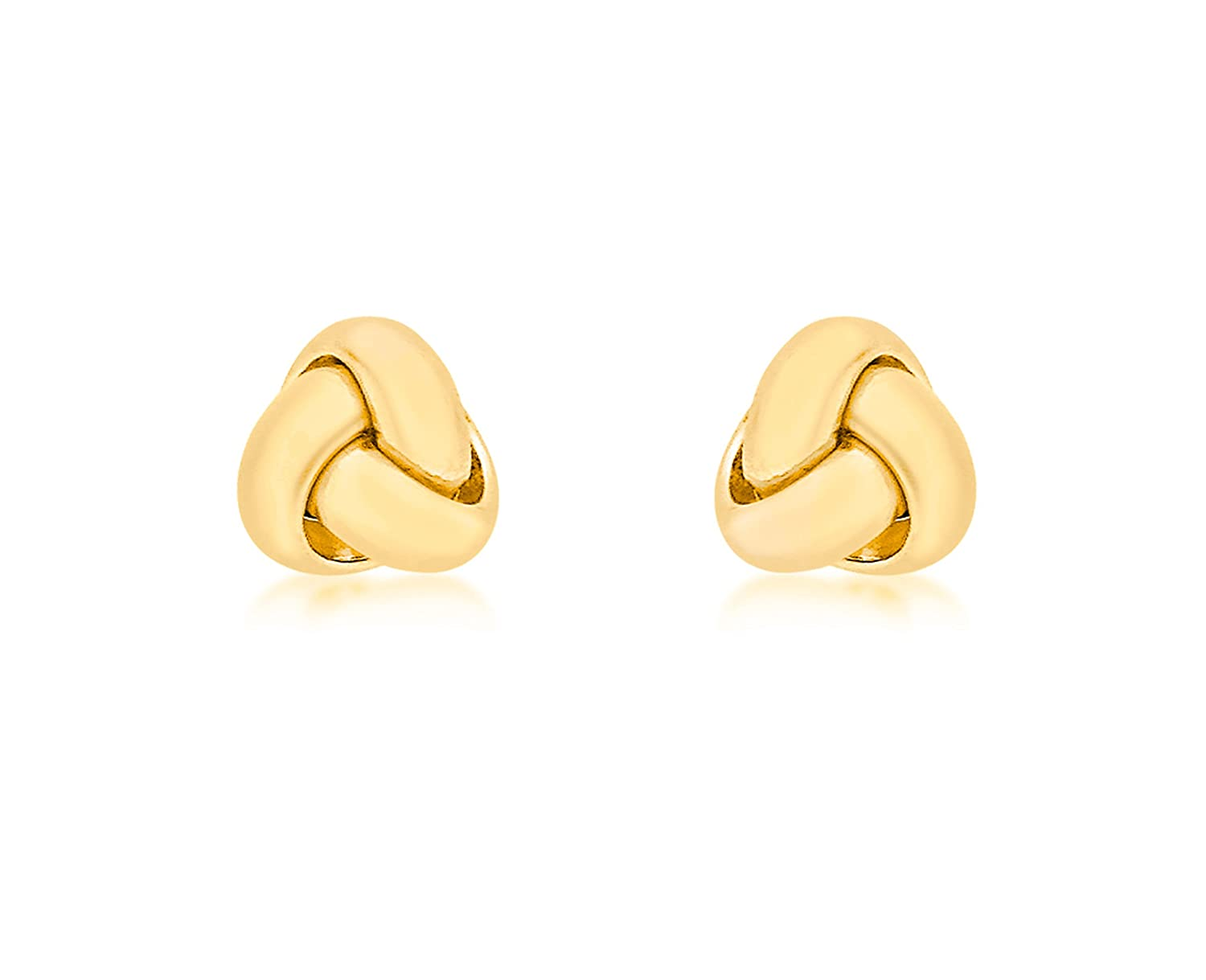 7789a1c77 Carissima Gold Women's 18 ct Yellow Gold 7 mm Triple Knot Stud Earrings:  Amazon.co.uk: Jewellery