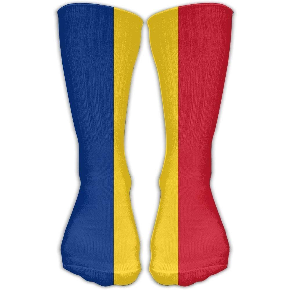 Unisex Flag Of Romania Socks Over The Knee 20-30mmHg Graduated Compression Best For Medical Nursing Casuel Hiking Travel & Flight Beautiful Present