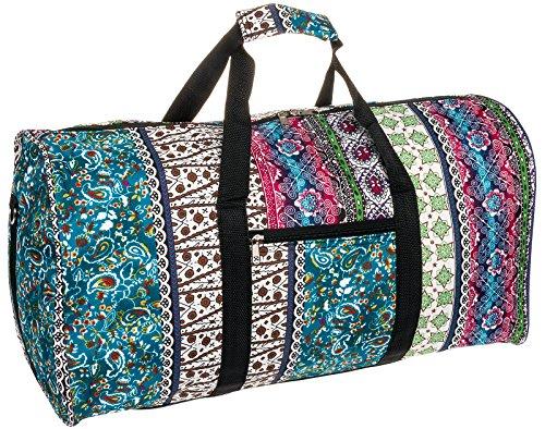 Silverhooks Womens Boho Pink 22 inch Duffle Travel Bag w/Black Trim (Multi Color) ()