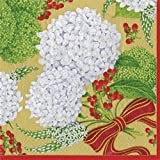 Entertaining with Caspari 13440D Snowball Hydrangeas, Dinner Napkin, Gold