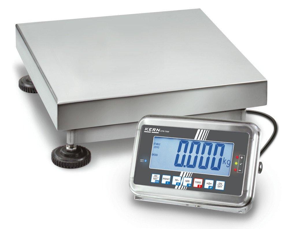 Balanza de plataforma [Kern SFB 300K-1LM] de acero inoxidable con IP65, plataforma extragrande y aprobación de homologación [M], Campo de pesaje [Max]: 300 ...