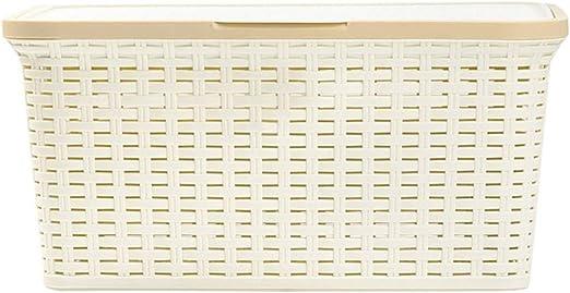 TRAGAR ratán Caja con Tapa Depósito Cesta Caja Caja Decorativa Ropa Cesta, Beige, 25l: Amazon.es: Hogar