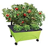 Emsco Group CITY PICKERS 24.5 in. x 20.5 in. Patio Raised Garden Bed Kit with Watering System and Casters in Limey Green