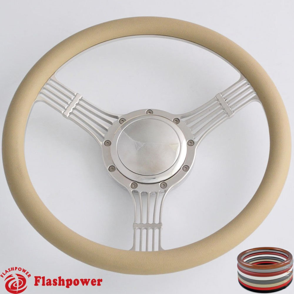 Flashpower 14'' Billet Banjo Half Wrap 9 Bolts Steering Wheel with 2'' Dish and Horn Button (Tan)
