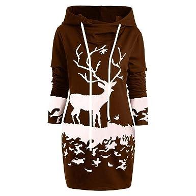 offrir des rabais la plus récente technologie collection entière BaZhaHei Sweat-Shirt Robe de Noël Femmes, Mini-Robe à Cordon avec Capuchon  et imprimé de Renne de Noël Monochrome pour Femme