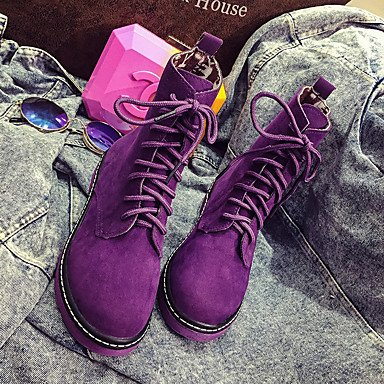 Botas de la mujer Confort Casual Primavera PU rojo púrpura plana negra Ruby