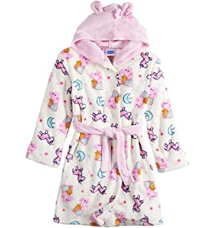 Bathrobe for Girls Plush Peppa Pig Little Toddler Kids Unicorn Robe Hooded