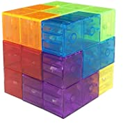 Wtohobby Magic Magnetic Building Block - Educational Magnetic Tiles for Kids Stress Relief Toy Puzzle Cubes to Develops Intelligence, Ideal for Birthday Gifts (Crystal)