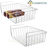 2 pcs Under Cabinet Storage Shelf Wire Basket Organizer Fit Dual Hooks for Kitchen Pantry Desk Bookshelf Cupboard - Premium Anti Rust Stainless Steel Rack - Silver