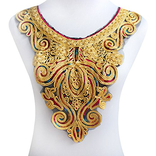Collar Sequin Beaded Applique (1 Gold Metallic Neckline Collar Beaded Sequin Embroidered Patch Applique Lace Collar for Sewing T522)