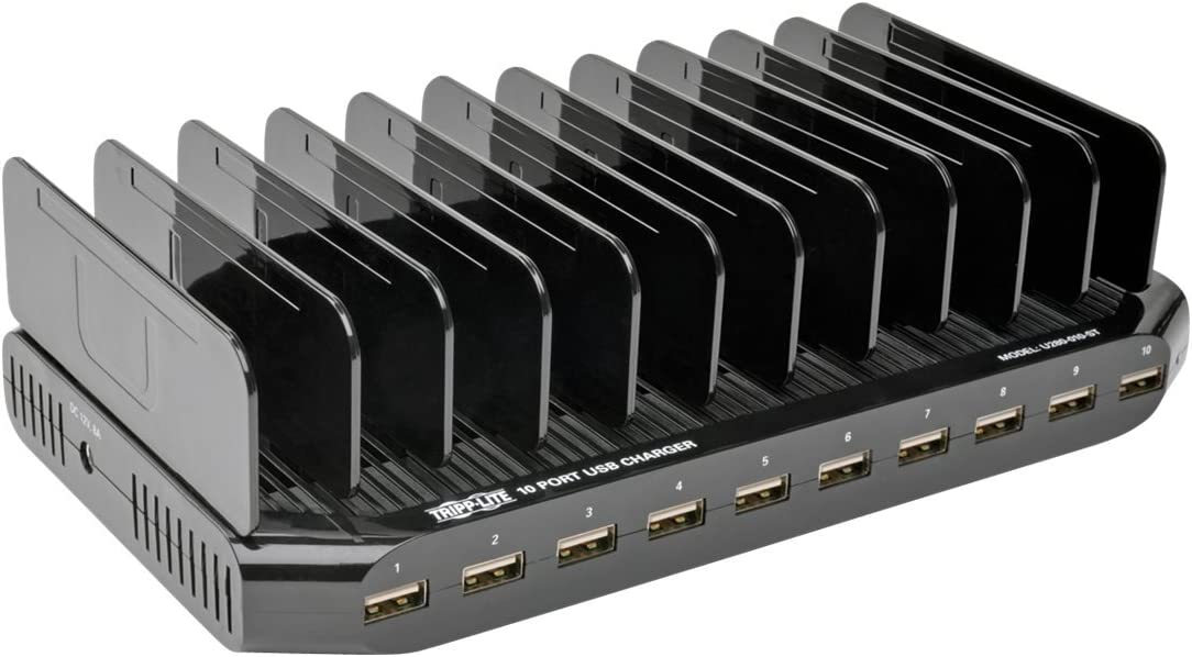 TRIPP LITE 10-Port USB Charging Station Dock with Storage Slots for Tablet iPhone iPad & Laptops (U280-010-ST)