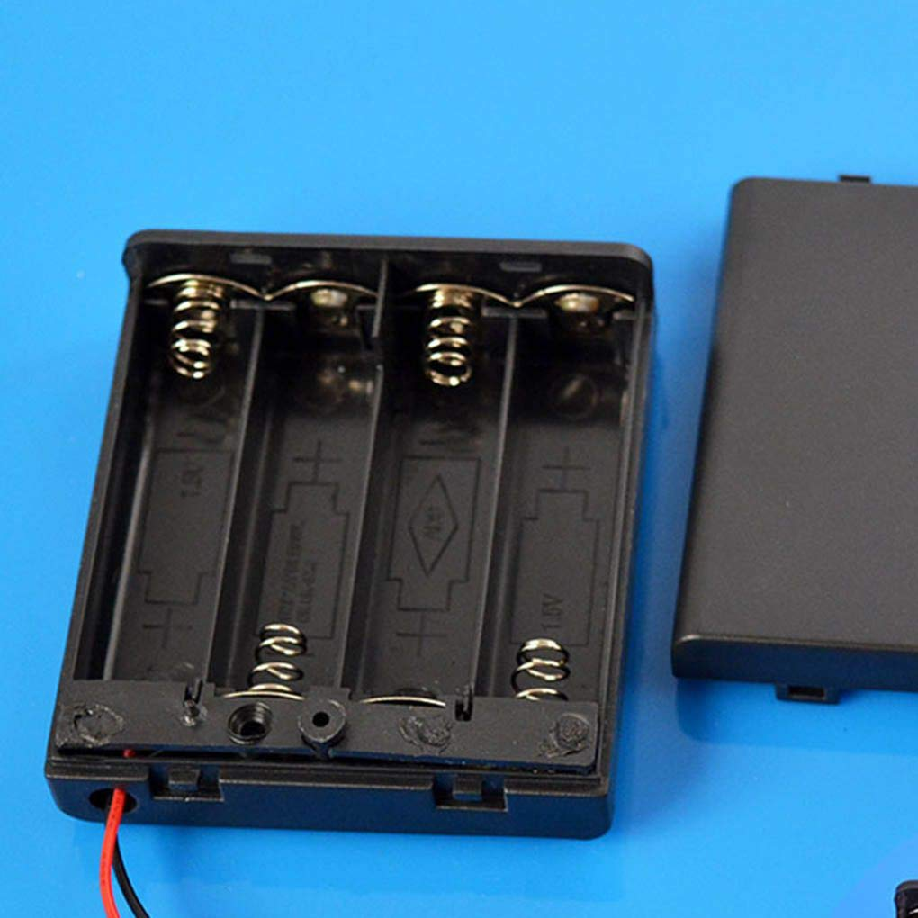 Lorjoyx Negro 4 Pilas AA Interruptor de la Tapa la Caja del sostenedor de bater/ía de 6V Caja Soporte de la bater/ía del Estante del Compartimiento