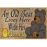 "Black Bears An Old Bear Lives Here With His Honey Love Refrigerator Magnet 3.5""X 2.5"""