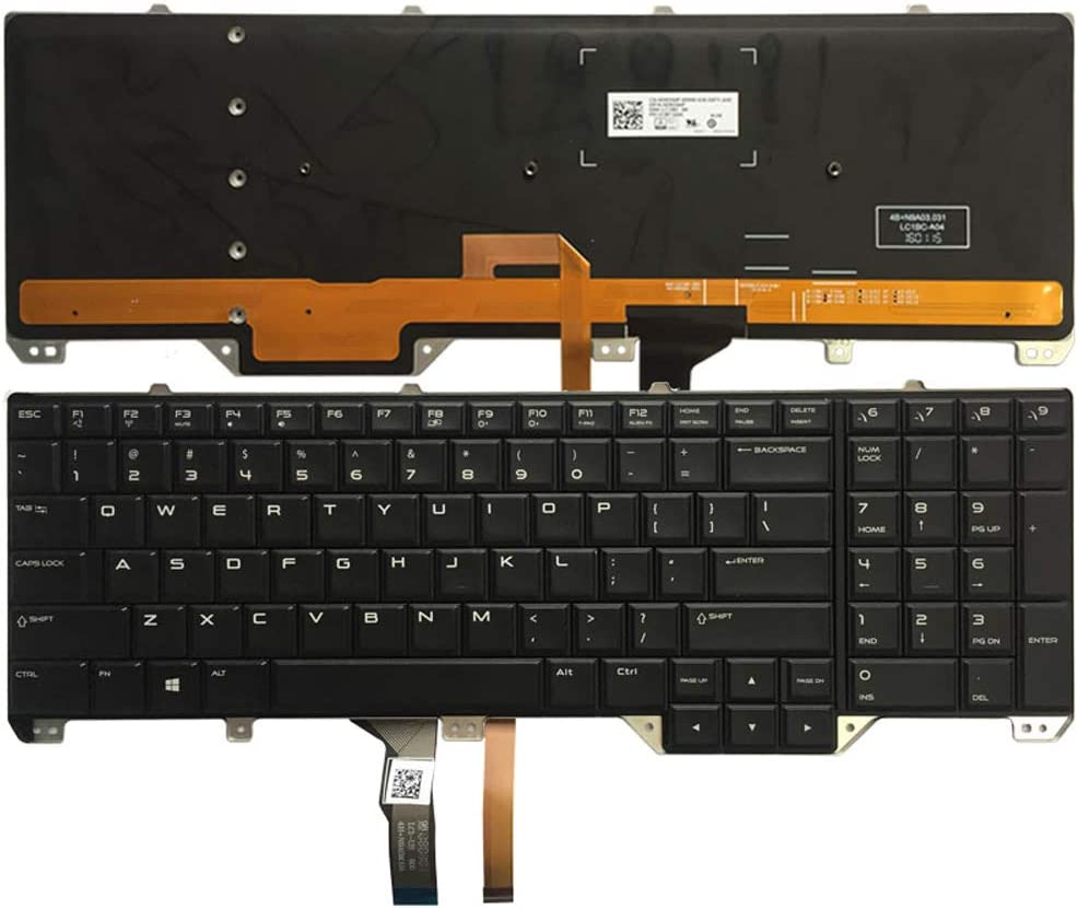 Laptop Replacement Keyboard Fit Dell Alienware 17 R2 17 R3 with Backlight (US Layout)