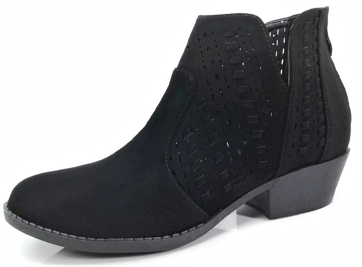 Top Moda Women's Ankle Bootie Perforated Side V Cut Low Chunky Stacked Heel, Black, 9