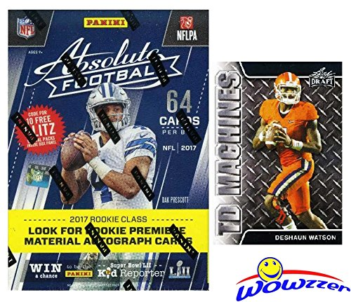 2017 Panini Absolute NFL Football EXCLUSIVE Factory Sealed HUGE Retail Box with 64 Cards! Plus BONUS 2017 Deshaun Watson ROOKIE Card! Look for RC & Autographs of all the Top ()