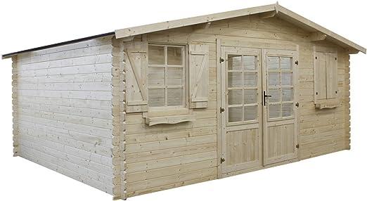 Habitat et Jardin - Caseta de madera para jardín autoclave, (22, 80 m², 5, 26 x 4, 32 x 2, 46 m, 28 mm): Amazon.es: Jardín