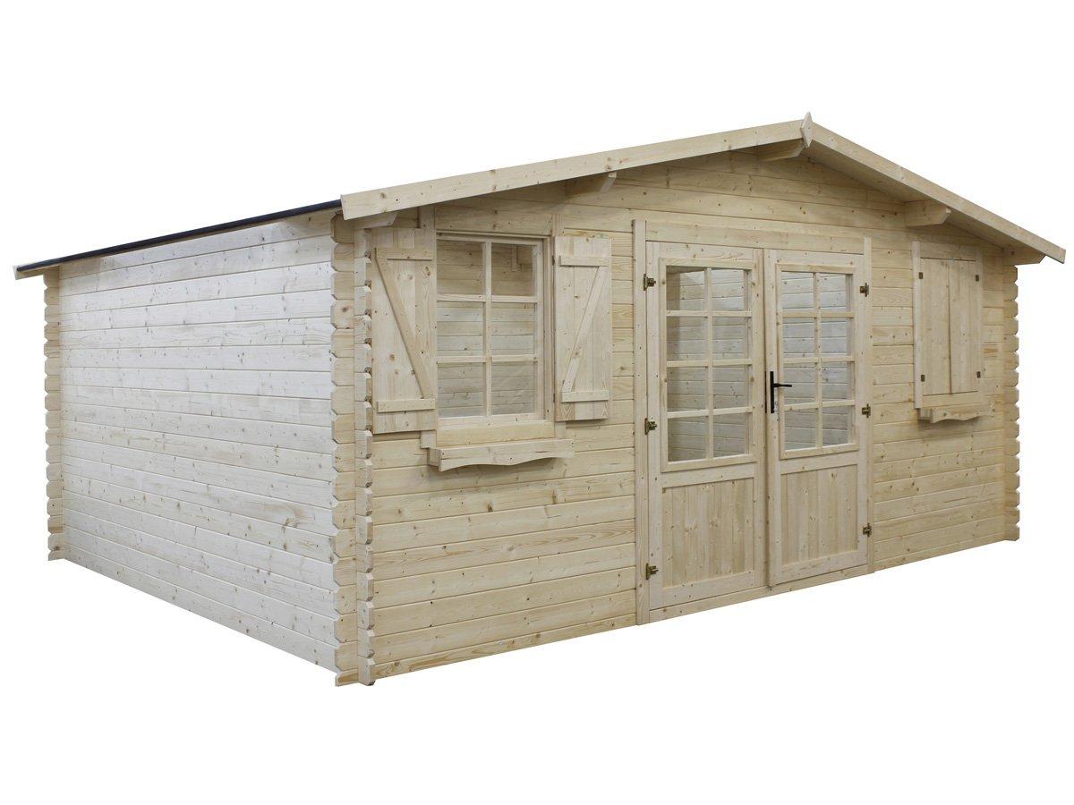 Habitat et Jardin - Abri jardin bois traité autoclave - 22.80 m² - 5.26 x 4.32 x 2.46 m - 28 mm