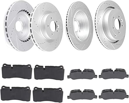 Fit 2006-2009 Land Rover Range Rover Front Drilled Brake Rotors+Ceramic Pads
