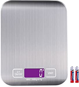 Digital Kitchen Scale Food Cooking Multifunction 0.04oz 1g to 11lb 5kg, Stainless Steel, 2 Batteries (included)
