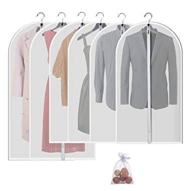 Allhom Hanging garment bag for storage - Travel Suit bag Sturdy zipper Moth proof Clothing bag pack of 6 with Moth cedar ball in 4 Medium and 2 Large