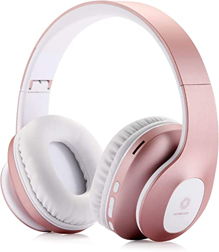 Bluetooth Over Ear Headphones,KINGCOO Wireless Headphones V5.0 with Microphone, Foldable Lightweight Headset, Support Tf Card MP3 Mode and Fm Radio for Cellphones Laptop TV Rose Gold